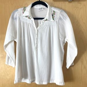 Free People White Cotton Embroidered Boho Blouse